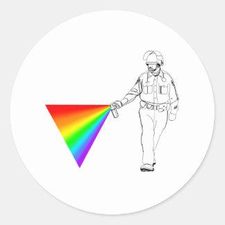 Casual Pepper Spray Cop Rainbow Round Sticker