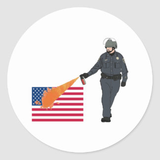 Casual Pepper Spray Cop with Flag in Color Round Sticker
