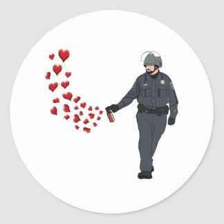 Casual Pepper Spray Cop with Hearts in Color Round Sticker