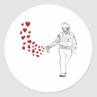 Casual Pepper Spray Cop with Hearts Round Sticker