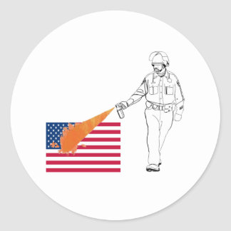 Casual Peppery Spray Cop with Flag Round Sticker