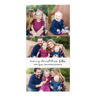Casual Script 4 Photo Christmas Holiday One Sided Picture Card