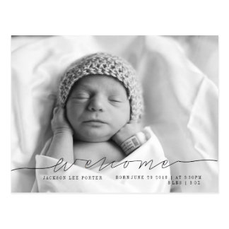 Casual Script   Modern Baby Announcement Photo Postcard