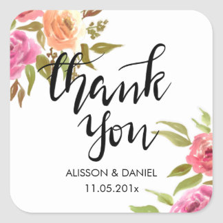 Casual Thank You Handwritten Flowers Square Sticker