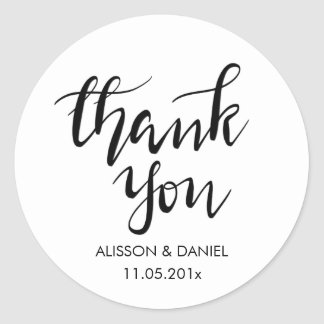 Casual Thank You Handwritten Script Simple Classic Round Sticker