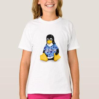 Casual Tux Blue Hibiscus Girls Tagless Jersey T-Shirt