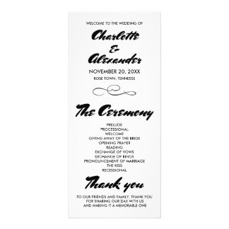 Casual Whimsical Wedding Program Ceremony Custom Rack Card
