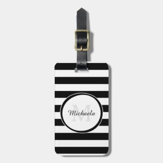 Casual Wide Black and White Stripes With Monogram Bag Tag