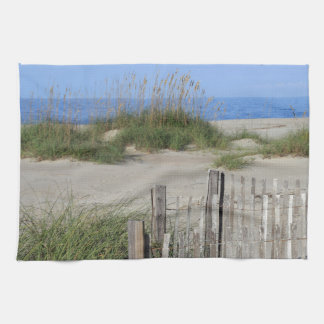 Caswell Beach, NC Land and Seascape Kitchen Towel