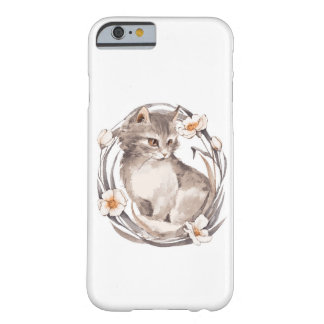 Cat 1. Gray fluffy kitten and flowers Barely There iPhone 6 Case