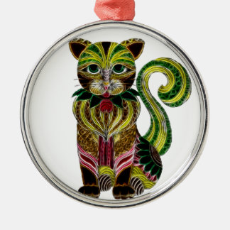 Cat 1 Silver-Colored round decoration