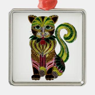 Cat 1 Silver-Colored square decoration