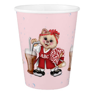 CAT 2 CHEERLEADER CUTE Paper Cup, 9 oz Paper Cup