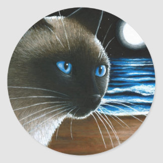 Cat 396 Siamese Classic Round Sticker
