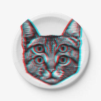 Cat 3d,3d cat,black and white cat 7 inch paper plate