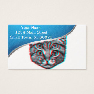 Cat 3d,3d cat,black and white cat business card