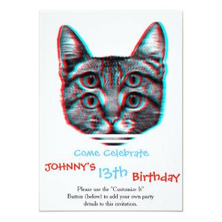 Cat 3d,3d cat,black and white cat card