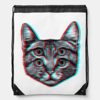 Cat 3d,3d cat,black and white cat drawstring bag