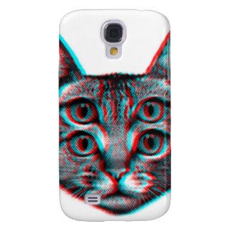 Cat 3d,3d cat,black and white cat galaxy s4 cases