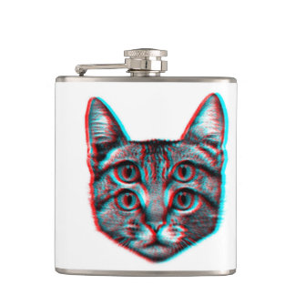 Cat 3d,3d cat,black and white cat hip flask