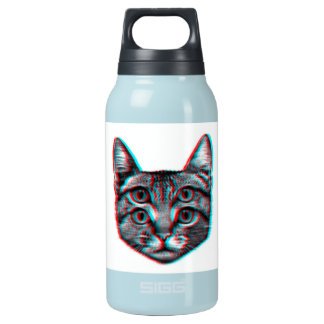 Cat 3d,3d cat,black and white cat insulated water bottle