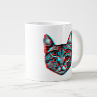 Cat 3d,3d cat,black and white cat large coffee mug