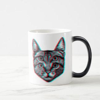Cat 3d,3d cat,black and white cat magic mug