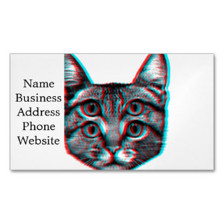 Cat 3d,3d cat,black and white cat Magnetic business card