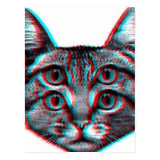 Cat 3d,3d cat,black and white cat postcard