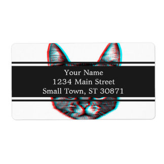 Cat 3d,3d cat,black and white cat shipping label