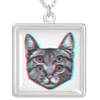 Cat 3d,3d cat,black and white cat silver plated necklace