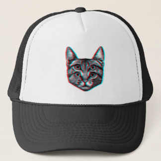 Cat 3d,3d cat,black and white cat trucker hat