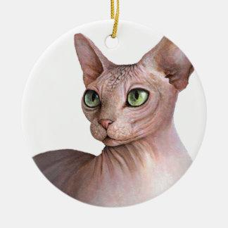 Cat 578 Sphynx white background Ceramic Ornament
