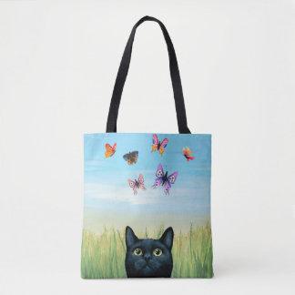 Cat 606 black cat butterflies tote bag