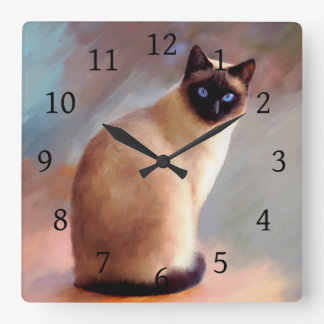 Cat 613 Siamese Square Wall Clock