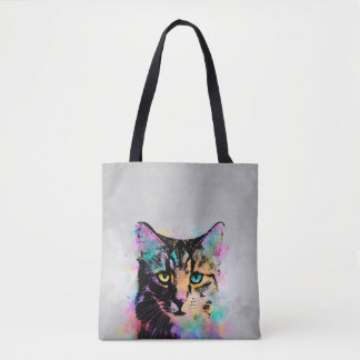 Cat 618 grey background tote bag