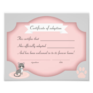 cat adoption party  certification paper photo print