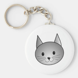 Cat. Adorable Gray Kitty Design. Basic Round Button Key Ring