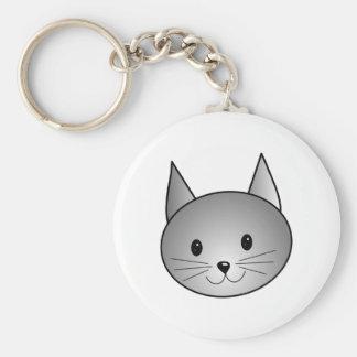 Cat. Adorable Gray Kitty Design. Key Ring