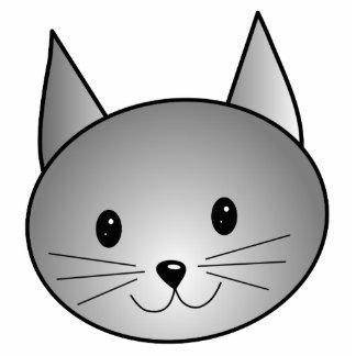 Cat. Adorable Gray Kitty Design. Photo Sculpture Badge