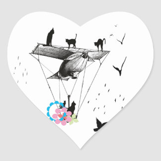 Cat and airplane heart sticker