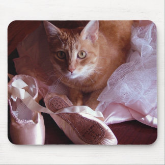 Cat and Ballet Slippers Mouse Pad