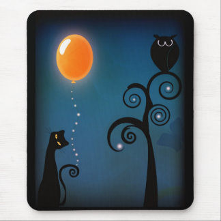 Cat and Balloon Mouse Pad