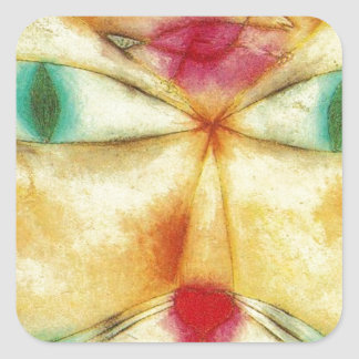 Cat and Bird by Paul Klee Square Sticker