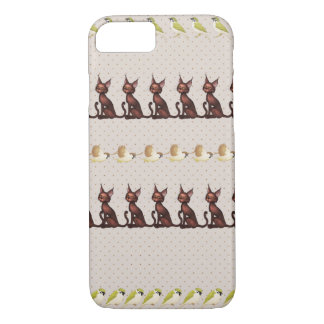Cat and bird  earth-tone pattern phone case