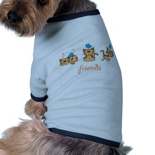Cat and Bird - friends Pet Clothing