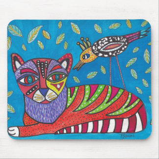 Cat and Bird Mouse Pad