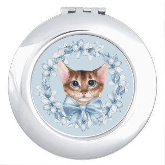 Cat and blue flowers mirrors for makeup