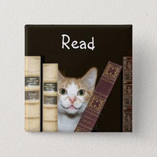 Cat and books 15 cm square badge