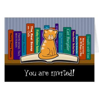 Cat and Books Invitation